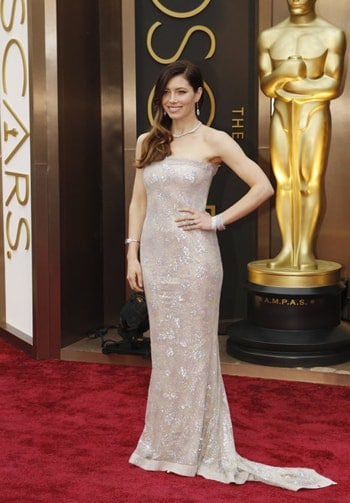 Jessica Biel radiated 2013's red carpet. Can you guess how much this look costed her?