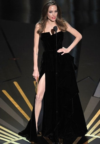 Angelina Jolie in Versace Thigh high split Little Black Dress. Top 20 most expensive clothes in the world