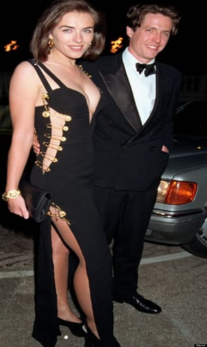 "Elizabeth Hurley in Versace gold safety pin dress. ""THAT DRESS"". One of the most expensive dresses ever sold"