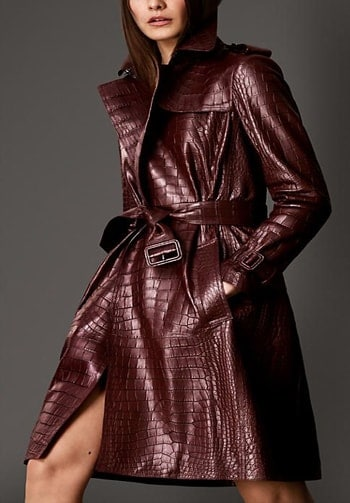 Burberry alligator wrap trench coat. Burberry's one of the most expensive item.Can .you guess its price?